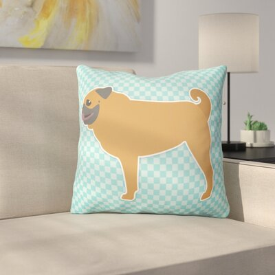 Pug Indoor/Outdoor Throw Pillow Size: 18 H x 18 W x 3 D, Color: Blue
