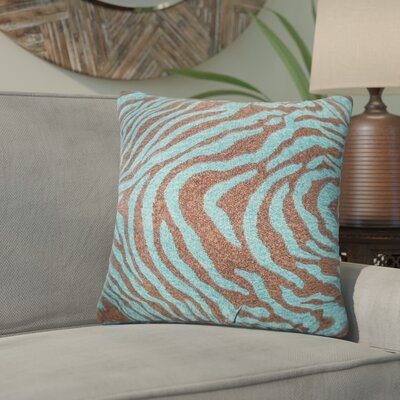 Delrick Zebra Print Throw Pillow Cover Color: Blue
