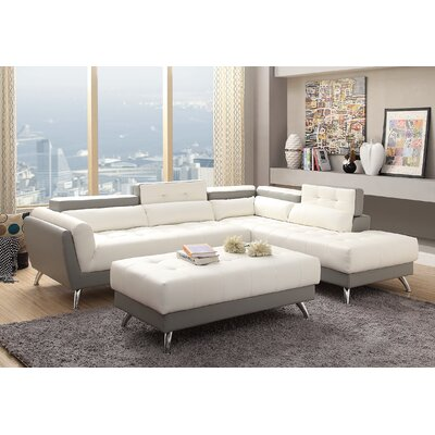Strock Sectional Upholstery: White/Light Gray