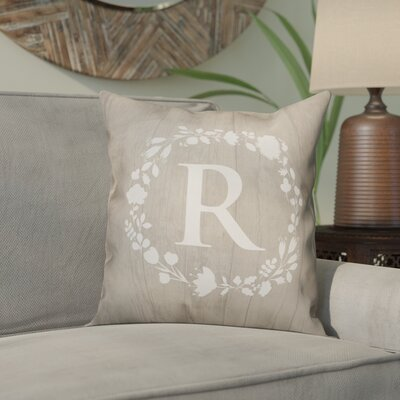 Orme Wreath Monogram Throw Pillow Letter: R