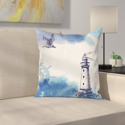 Lighthouse Decor Handdrawn Art Square Pillow Cover Size: 18 x 18