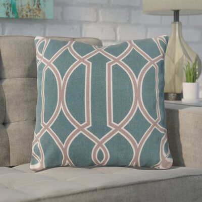 Georgios Intersecting Lines Throw Pillow Size: 22 H x 22 W x 4 D, Color: Turquoise / Dark Taupe / Parchment, Filler: Down
