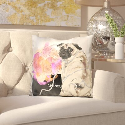 Greenhill Stop and Smell the Flowers Pug Throw Pillow