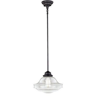 Hirsch 1-Light Schoolhouse Pendant Finish: Oil Rubbed Bronze, Shade Color: Clear Seed Glass