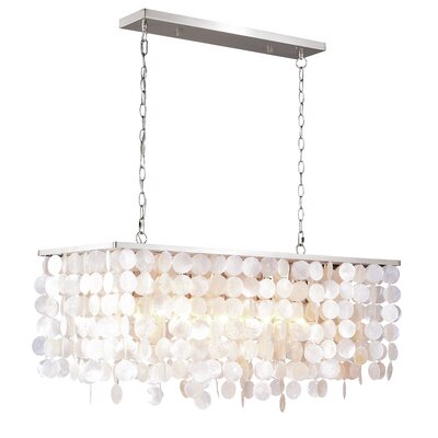 Navua Capiz Shell Rectangular 5-Light Kitchen Island Pendant