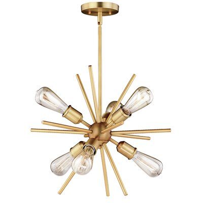 Berryhill 6-Light Sputnik Chandelier Finish: Natural Brass