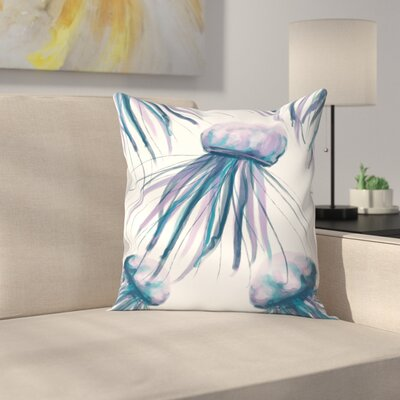 Jetty Printables Watercolor Jellyfish Throw Pillow Size: 18 x 18