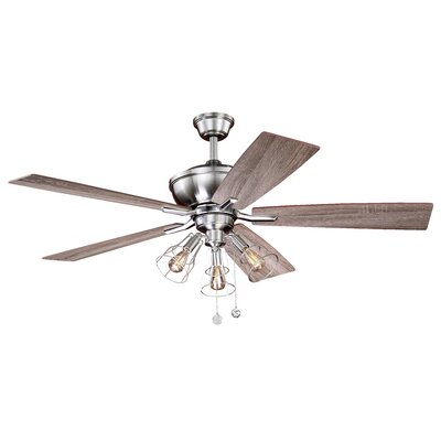 52 Clybourn 5 Blade Ceiling Fan Finish: Satin Nickel with Driftwood-Walnut Blades
