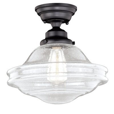 Hirsch 1-Light Flush Mount Fixture Finish: Oil Rubbed Bronze, Shade Color: Clear Seed Glass