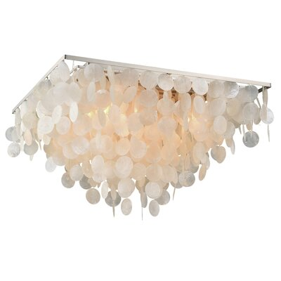 Navua Capiz Shell Square 5-Light Flush Mount