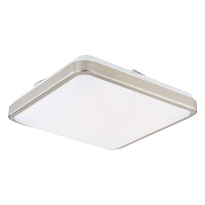 Gallucci Square 1-Light LED Flush Mount Fixture Finish: Satin Nickel, Size: 4 H x 14 W x 14 D