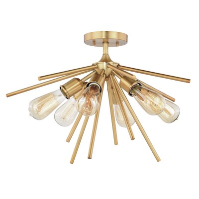 Berryhill 6-Light Semi Flush Mount Fixture Finish: Natural Brass