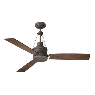 54 Hamler 3 Blade LED Ceiling Fan Finish: Vintage Steel with Honey Oak / Riverwash blades