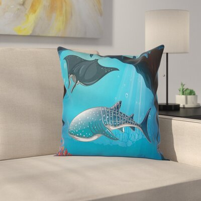 Cartoon Swimming Shark Ocean Square Pillow Cover Size: 16 x 16