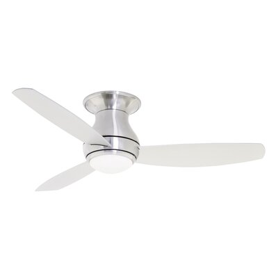 52 Imler 3 Blade Outdoor LED Ceiling Fan Finish: Brushed Steel, Size: 44 H x 12.6 W x 44 D
