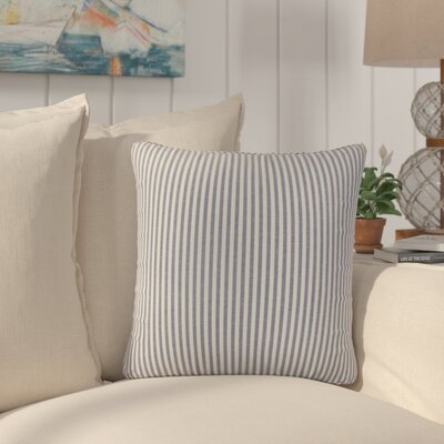 Montego Stripes Cotton Throw Pillow Color: Navy