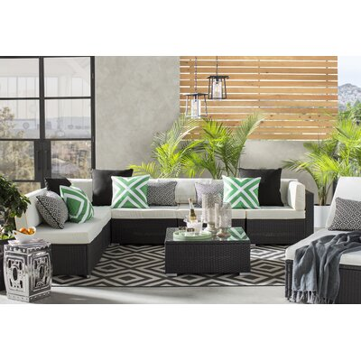 Hand-Woven Black/Cream Outdoor Area Rug Rug Size: Rectangle 109 x 76
