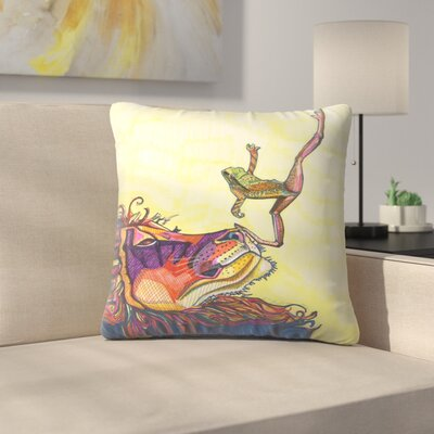 Frog And Lion Throw Pillow Size: 16