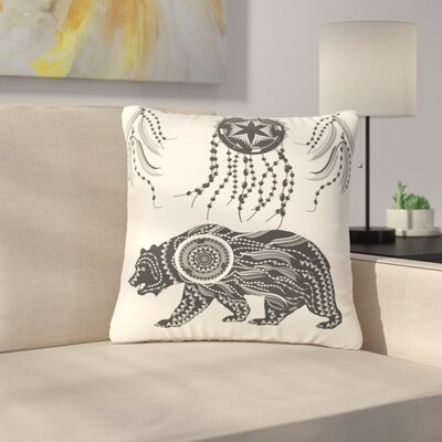 Famenxt Boho Ornate Bear Outdoor Throw Pillow Size: 18 H x 18 W x 5 D