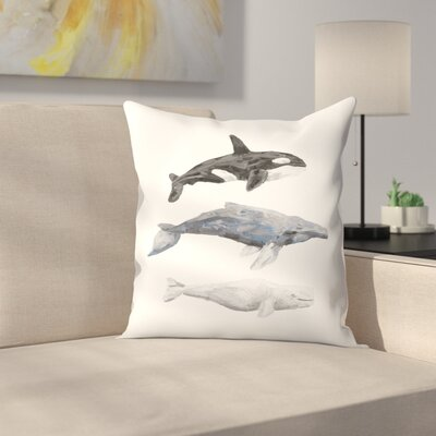 Jetty Printables Whale Painting Trio 1 Throw Pillow Size: 16 x 16