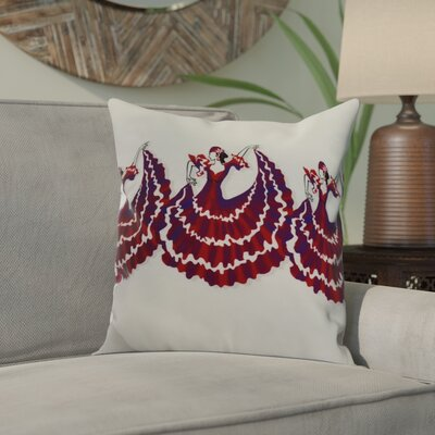 Hirschman 3 Dancers Print Indoor/Outdoor Throw Pillow Color: Red, Size: 16 x 16