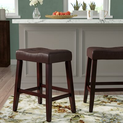 Lyndale Saddle 24 Bar Stool Upholstery: Espresso