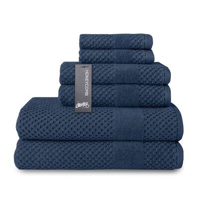 Honeycomb 6 Piece Towel Set Color: Navy