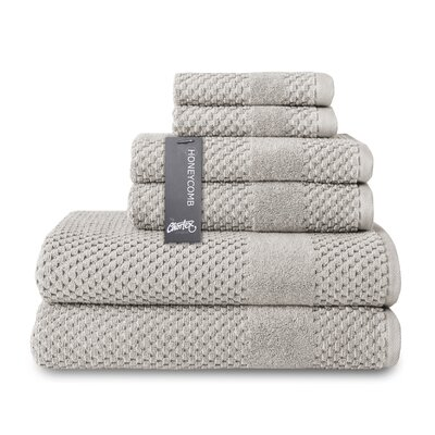 Honeycomb 6 Piece Towel Set Color: Silver