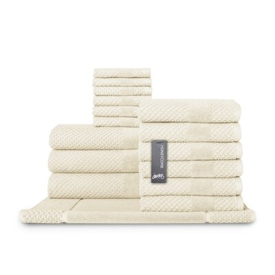 Honeycomb 16 Piece Towel Set Color: Almond
