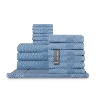 Honeycomb 16 Piece Towel Set Color: Blue