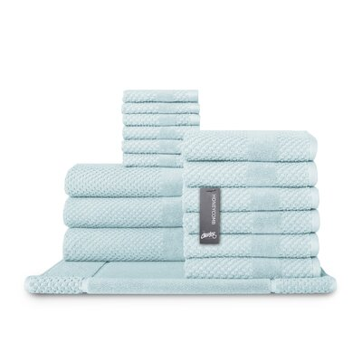 Honeycomb 16 Piece Towel Set Color: Duck Egg