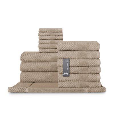 Honeycomb 16 Piece Towel Set Color: Flax