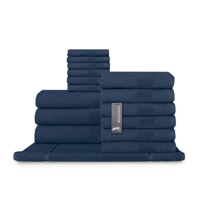 Honeycomb 16 Piece Towel Set Color: Navy