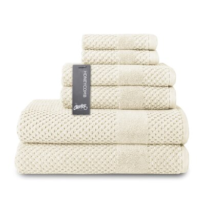 Honeycomb 6 Piece Towel Set Color: Almond