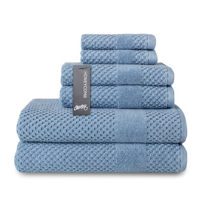 Honeycomb 6 Piece Towel Set Color: Blue