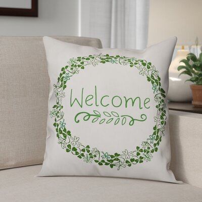 Benites Welcome Clover Wreath Throw Pillow