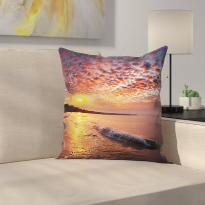 Dawn at Beach Seaside Square Pillow Cover Size: 16 x 16