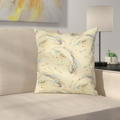 Ocean Life Swimming Dolphins Square Pillow Cover Size: 18 x 18