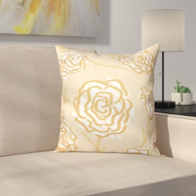 Aletha Spring Floral 2 Print Throw Pillow Size: 18 H x 18 W, Color: Gold