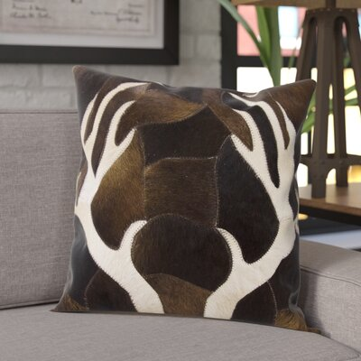 Agate Antler Piecework Hide Throw Pillow Color: Chocolate