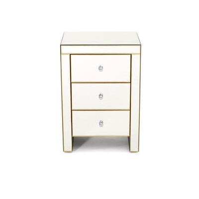 Montecello Mirror 3 Drawer Nightstand Color: White/Black/Gold