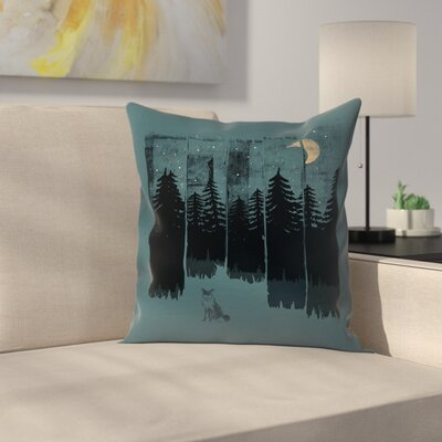Fox In The Wild Night Rectangle3 Throw Pillow Size: 16 x 16