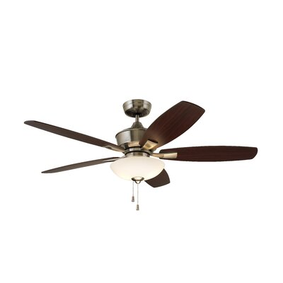 52 Imes 5 Blade LED Ceiling Fan Finish: Brushed Steel with Walnut / Dark Cherry Blades