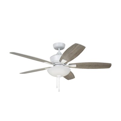 52 Imes 5 Blade LED Ceiling Fan Finish: Stainless Steel with Satin White / Timber Gray