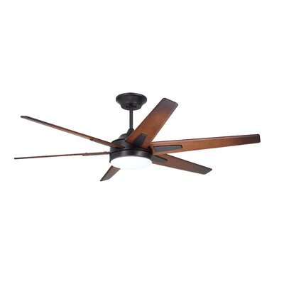 60 Durst 6 Blade LED Ceiling Fan Finish: Oil Rubbed Bronze with Sunburst Walnut Blades