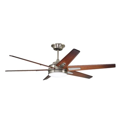 60 Durst 6 Blade LED Ceiling Fan Finish: Brushed Steel with Sunburst Walnut Blades
