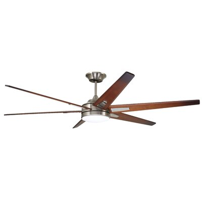 72 Durst 6 Blade LED Ceiling Fan Finish: Brushed Steel with Sunburst Walnut Blades