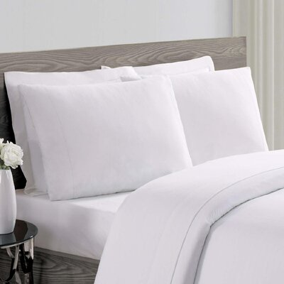 Luxe Cotton Linen Pillowcase Size: Standard, Color: White