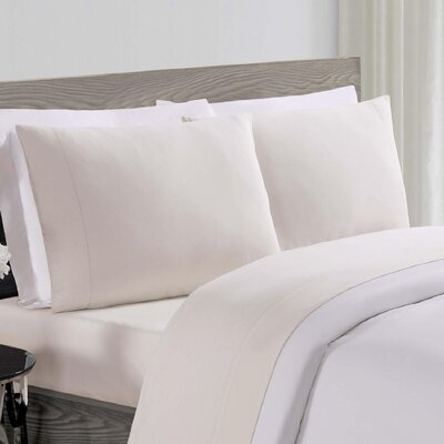 Luxe Cotton Linen Pillowcase Size: King, Color: Ivory