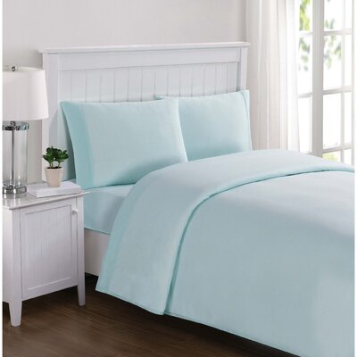 Englewood Solid Sheet Set Size: Queen, Color: Aqua